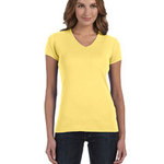 Ladies'  5.8 oz., 1x1 Baby Rib V-Neck T-Shirt