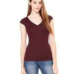 Ladies'  4 oz. Sheer Rib Deep V-Neck