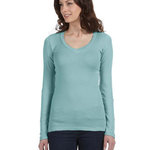 Ladies'  4 oz. Sheer Rib Long-Sleeve V-Neck