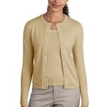 Ladies Fine Gauge Crewneck Cardigan Sweater